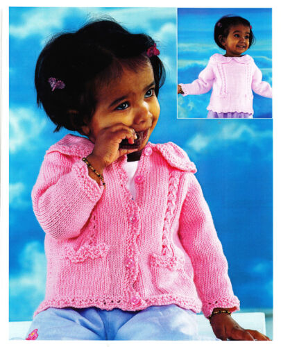fits-0-7y KNITTING Pattern-Girls Sweater /& Cardigan in DK-cute collar /& pockets