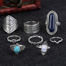 Women 8Pcs/Set Turquoise  Above The Knuckle Ring Boho Midi Finger Rings Jewelry