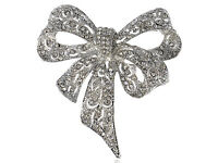 US Captivating Clear Crystal Rhinestone Silver Christmas Ribbon Bow Pin Brooch