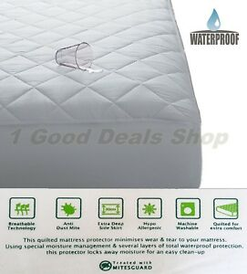 Quilted Waterproof Mattress Protector Washable Kids Adult Wet Sheet