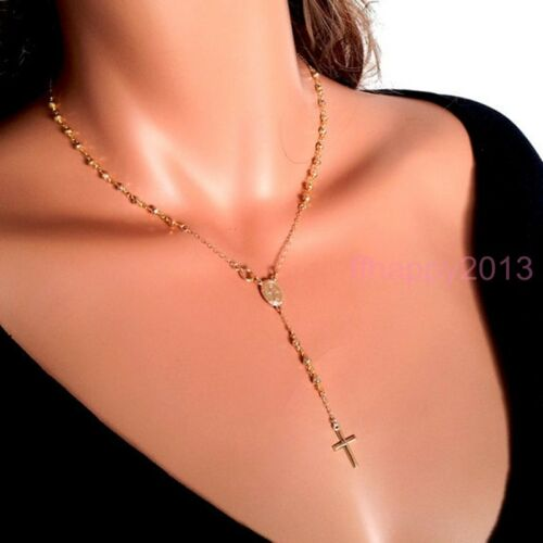 4mm Womens 18K Gold Plated Cross Pendant Rosary Chain Necklace Stainless Steel