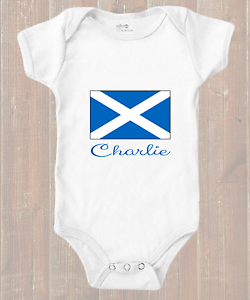 Personalised Scottish Flag Your Childs Name Baby Grow Bodysuit Vest Scotland