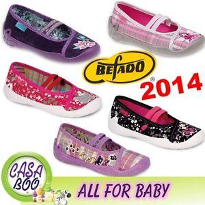 Befado Niñas Lona Zapatos, guardería Zapatillas / Slip-on / Talla 8 -12 Uk Nuevos Blanca
