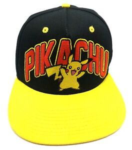 46c0c17717f Image is loading PIKACHU-POKEMON-black-yellow-adjustable-cap-hat