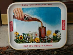 Original 1960's Metal Coke Serving Tray Flowers COKE REFRESHES YOU BEST