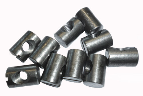 14mm Slotted Cross Dowel 10 Barrel Bolt Nuts M6
