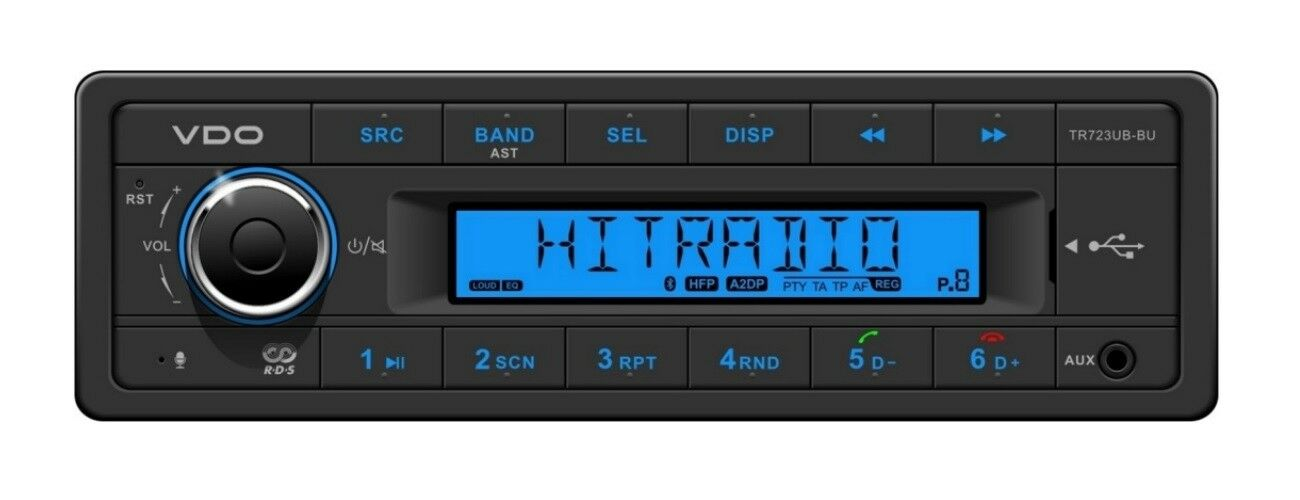 VDO RADIO USB MP3 WMA BlauTOOTH 24V Stiefel TR723UB-BU