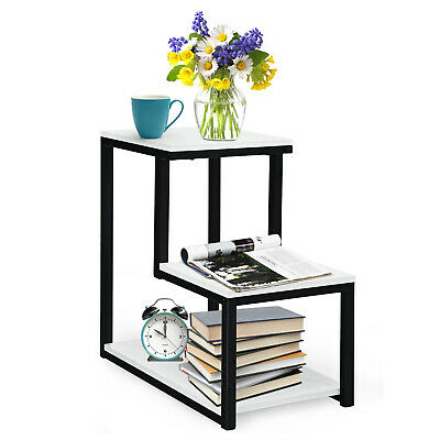 Details about  3-Tier Side End Table Modern Sofa Coffee Table Wooden Lamp Nightstand Metal Fram