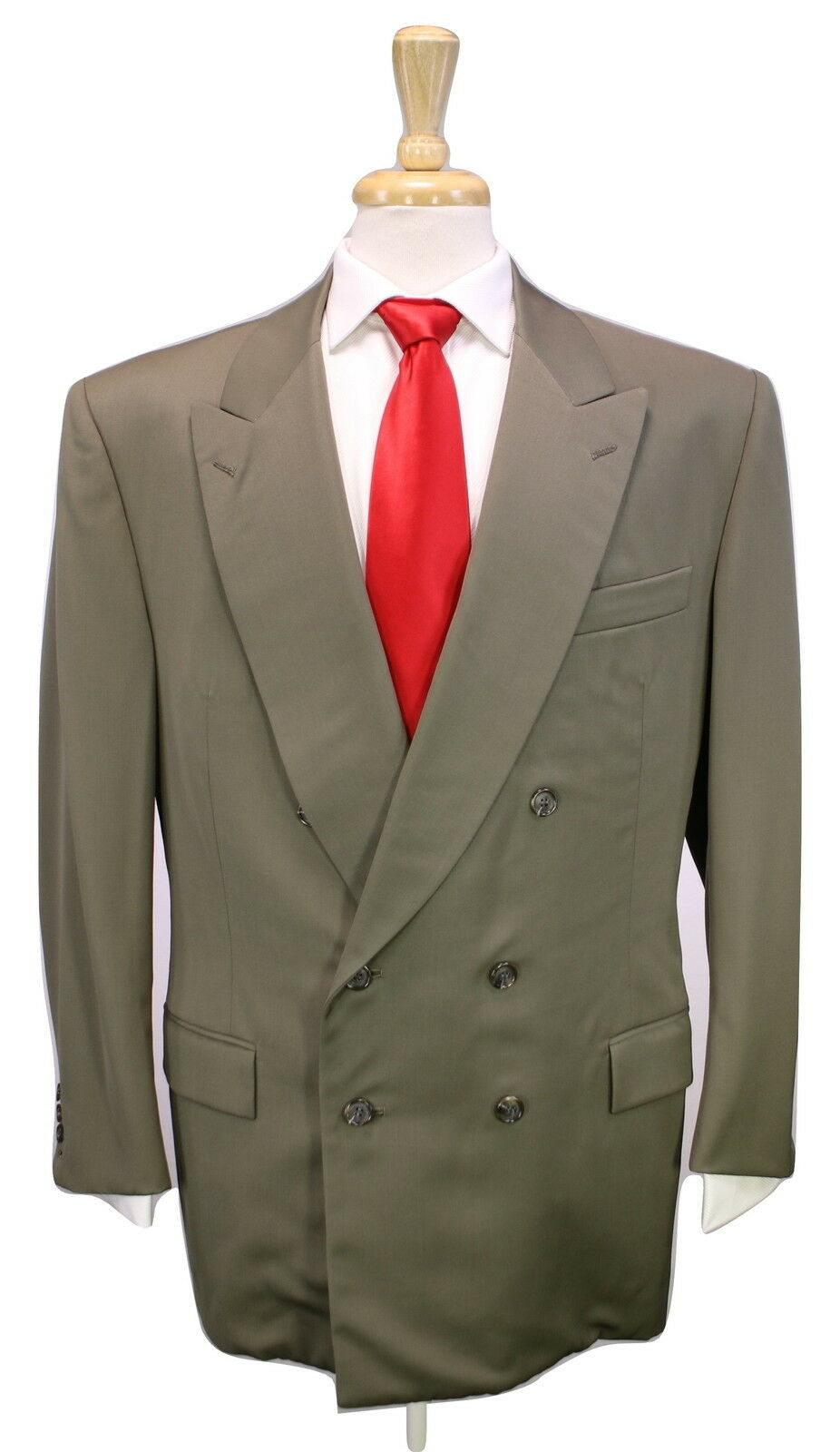WILLIAM FIORAVANTI  Bespoke Solid Olive Full Canvas 2-Btn DB Wool Suit 40R