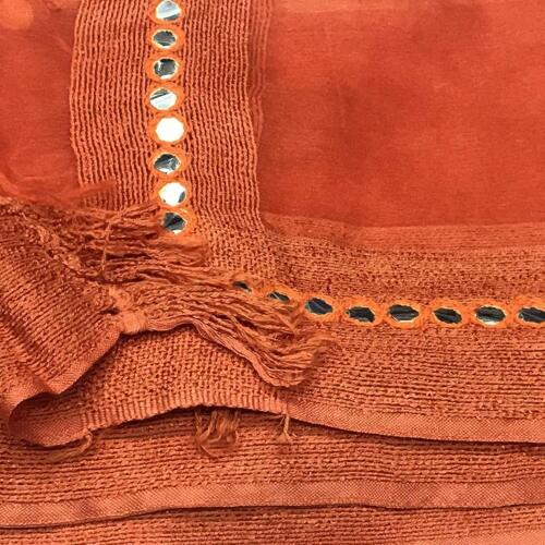 Women/'s  Art Silk Dupatta Plastic Mirror and Thread Work Stoles Free Shipping