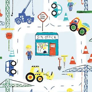 Details About Road Work Ahead Construction Wallpaper Blue Holden 11051 Kids Bedroom New