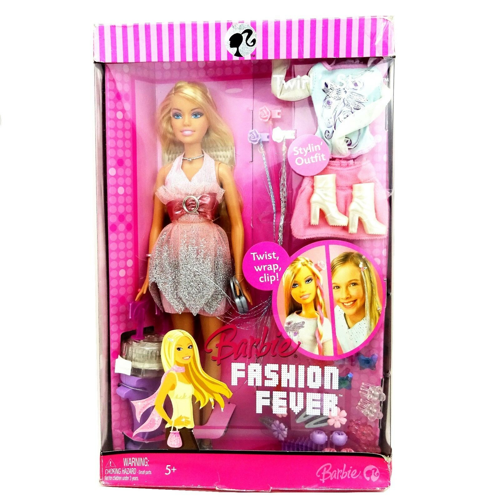 2007 Barbie Fashion Fever Twirl n Style Doll New in Very Worn Box