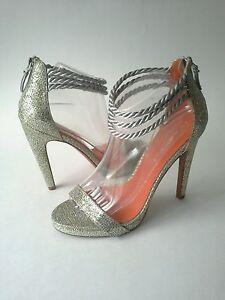 Via-Spiga-Penelope-Canvas-Leather-Sparkle-Heel-Platform-Sz-10-Sliver-Gold-225