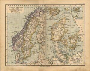 Cartina Geografica Norvegia Fisica.Carta Geografica Antica Svezia Norvegia Danimarca Islanda 1897 Old Antique Map Ebay
