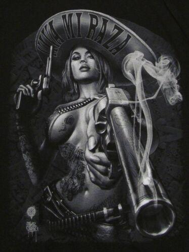 VIVA MI RAZA V-Neck T-shirt Charra Smoking Gun Tee Womens JUNIORS S-XL Black New