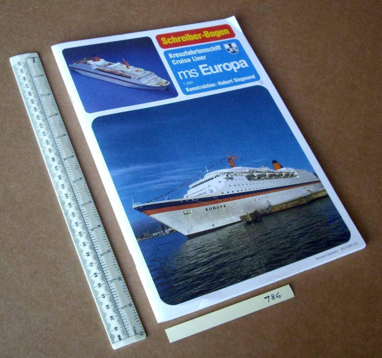 MS Europa Liner. JFS Schreiber Paper Model Cut-Out Kit. 1980s 90s Vintage  (786)