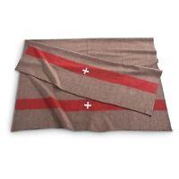 Swiss Army Military Surplus Wool Blanket Brown-w/red Stripe