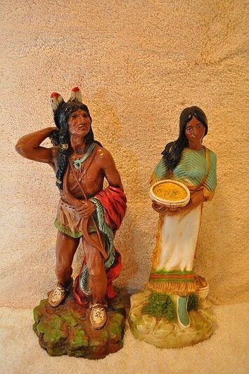 Hombre Indio Nativo Americano (1970) y Mujer (1980) conjunto de Homco