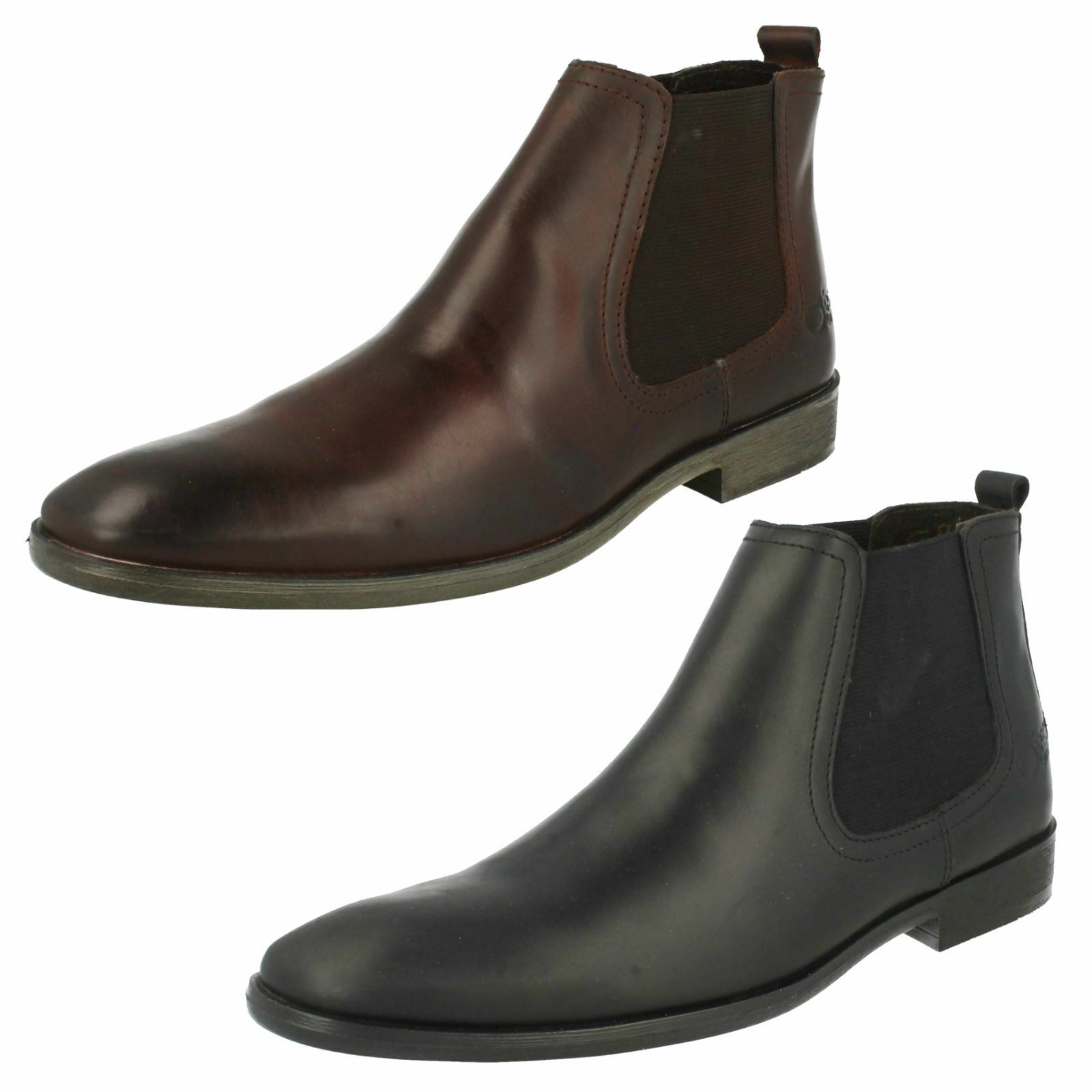 Mens SAFFRON waxy black / waxy brown boots By Base London £45.00