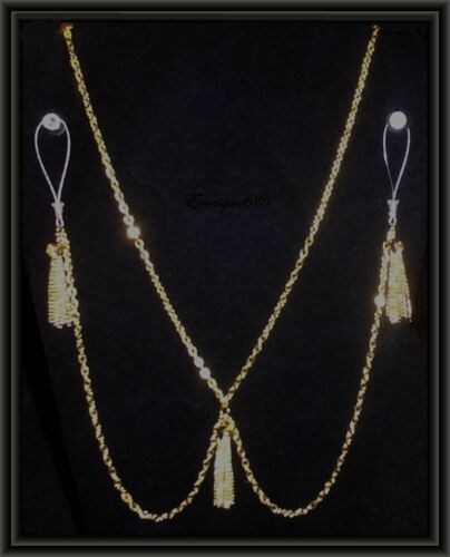 Non Piercing Nipple Chain with Gold Plated Tassels Erotique6 Original Necklace