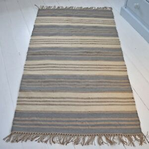 Details About Wool Jute Rug Flat Weave Hand Loomed Blue Grey Cream Natural Striped