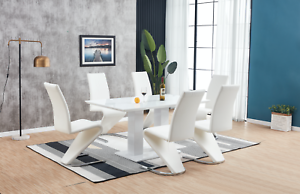 High-Gloss-Dining-Table-Set-And-6-Chrome-Leather-Dining-Chairs