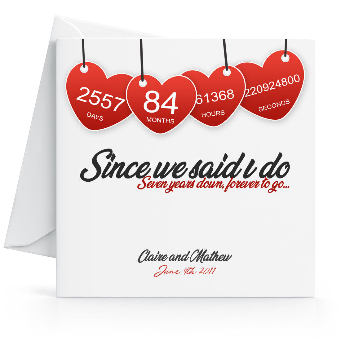 Personalised 7th Wedding Anniversary Card Printed Hearts Wife Husband Seventh 7625846011077 Ebay