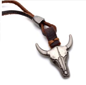 Ox Cow Skull Head Horn Rope Necklace Punk Tribal African Goth Boho Punk Cowboy
