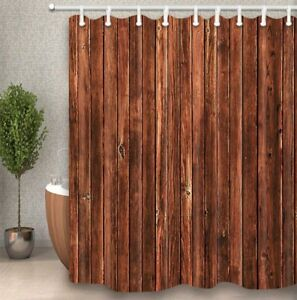 Details About Rustic Brown Wood Grain Wall Fabric Bath Shower Curtain 84 Inches Extra Long