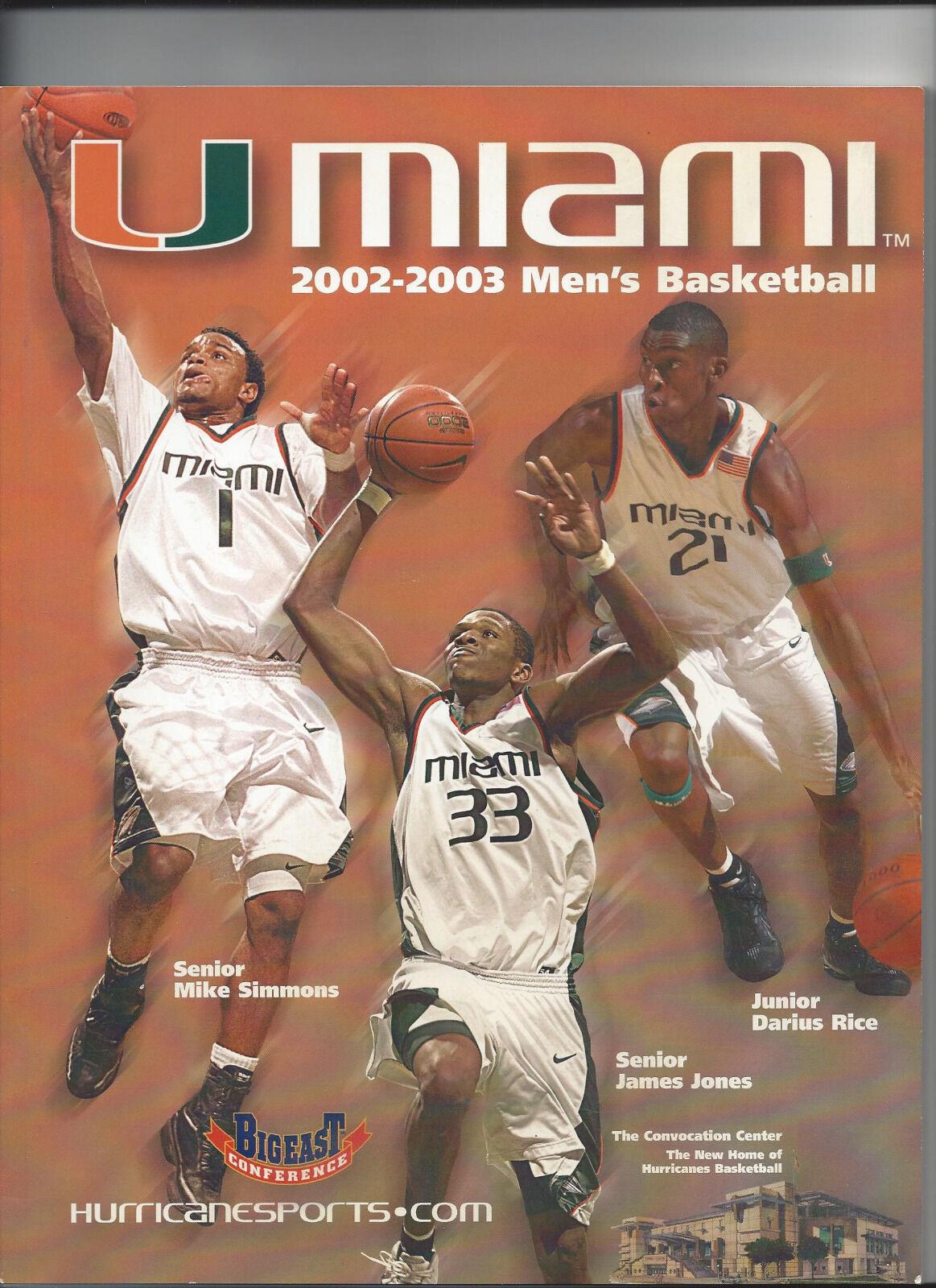 Guide University of Miami miami Men's basket miami Miami ouragans 2002/2003, 194 pages 1171ad