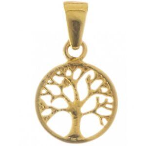 Keltischer-Lebensbaum-Anhaenger-Silber-Vergoldet-Symbol-Schmuck-NEU