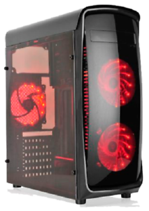 Caja-ordenador-PC-ATX-con-lateral-transparente-gaming-4-x-Ventilador-LED-rojo