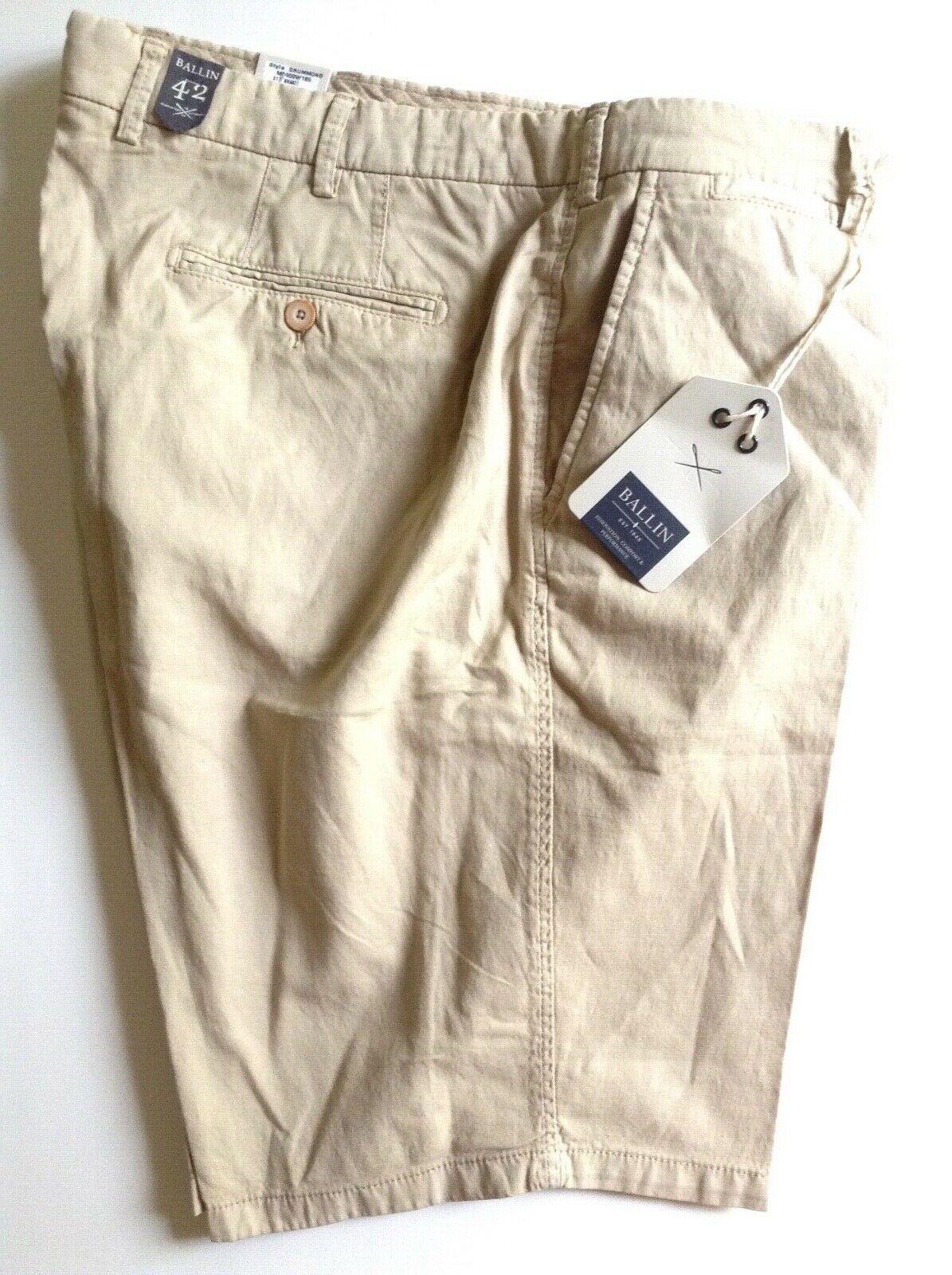 Ballin Mens NWT light khaki cotton linen blend flat front shorts size 42