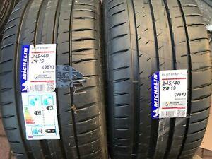 2-X-Nouveau-245-40-19-Michelin-Pilot-SPORT-4-pneus-245-40-ZR19-98Y-Extra-Load