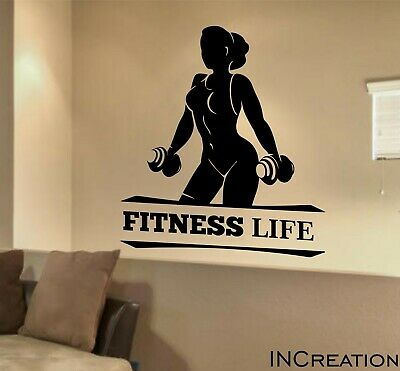 fitness life vinyl wall decal workout gym wall sticker