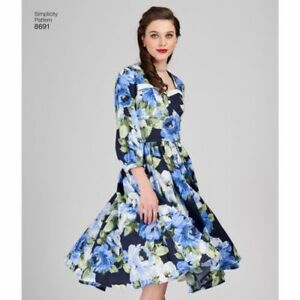 702752019f7 Uncut Simplicity Misses 14-22 Sweetheart Neck Retro Style Dresses ...