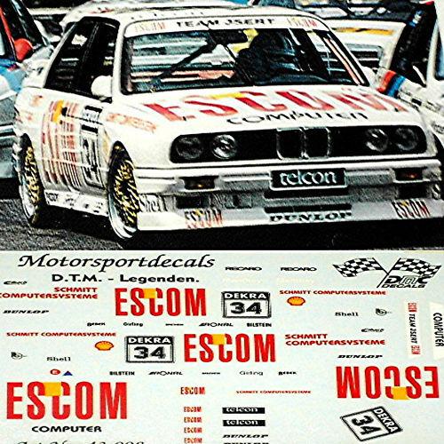 BMW M3 E30 DTM Escom #34 O.Manthey 1:18 Decal Abziehbilder