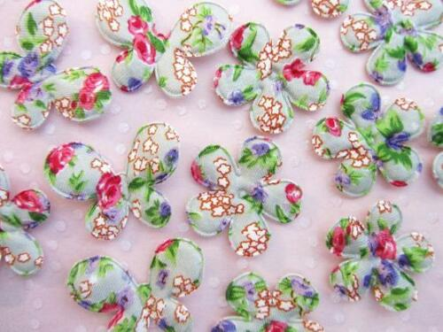 60 Fancy Floral Fabric Butterfly+Flower Applique//Trim//Quilting//Padded H214-Grey