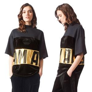 Détails sur Haut Femme Adidas Originals oversize Pull Tee shirt velours noir Trefoil T shirt Top afficher le titre d'origine