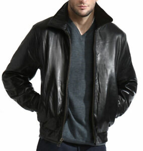 Men-039-s-Black-Lambskin-Leather-Bomber-Jacket-Zip-out-Liner-XL-2X-3X