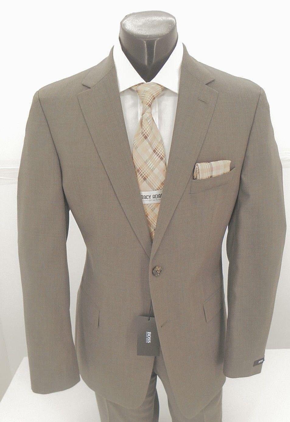 Hugo Boss Med Braun 2B  Virgin Wool   Herren Classic Fit Suit 389.99 USA  44R