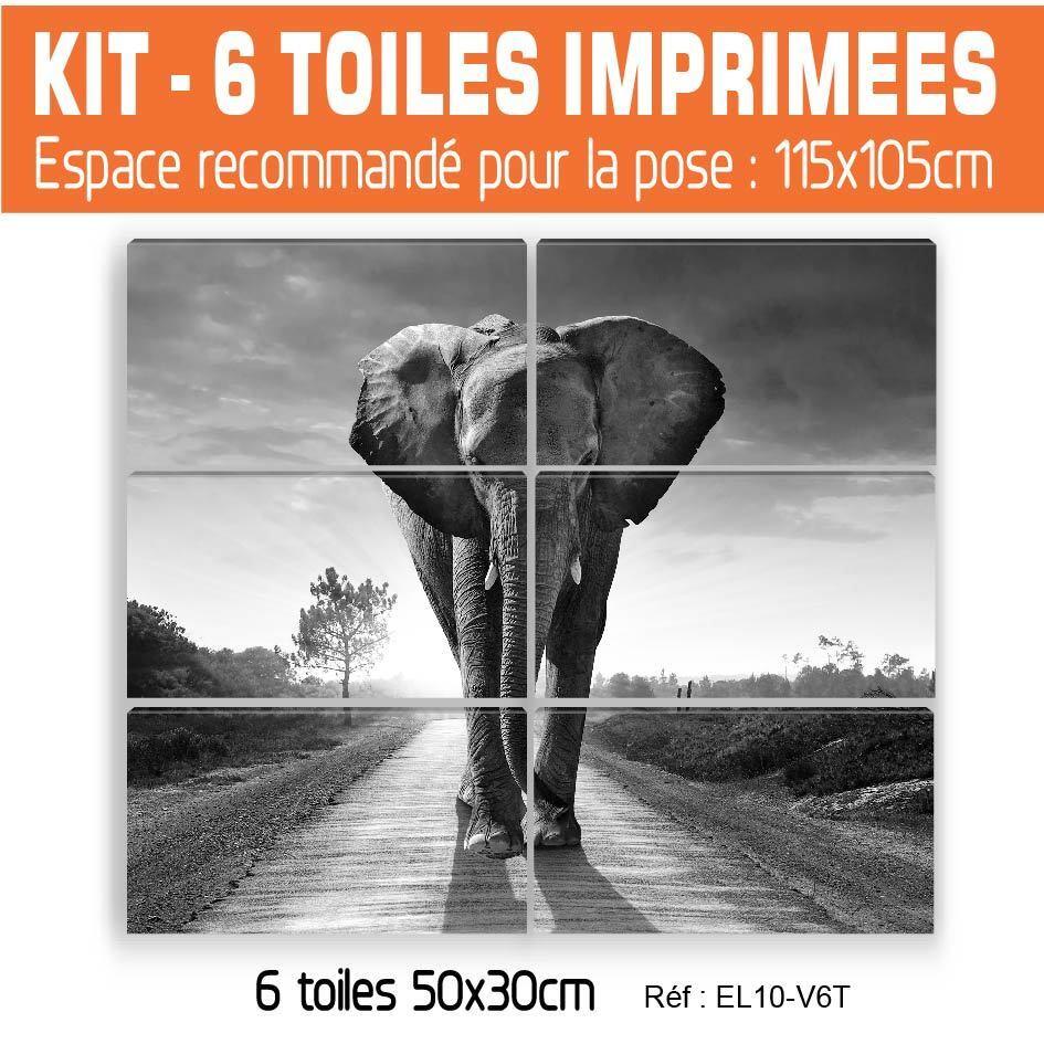 50x90cm -3 EL10BW-V3T TOILES IMPRIMEE-TABLEAU DECORATION MURALE - ELEPHANT - EL10BW-V3T -3 606448