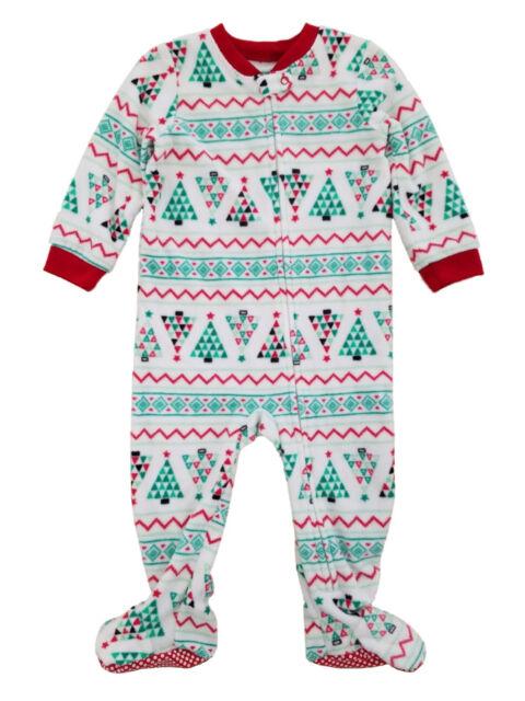 d5b2498e16d6 Infant Boys White Fair Isle Christmas Tree Holiday Fleece Pajama Sleeper 18m