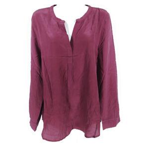 Joie Silk Top Blouse Purple Plum Women's Large Long Sleeve V-neck