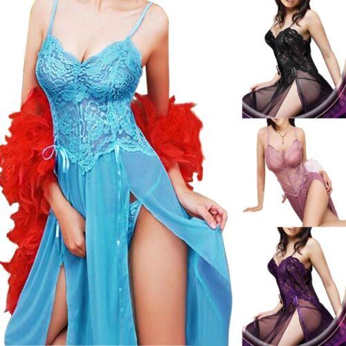 Women Ladies Lingerie Long Dress Pink Sleepwear Nightgown Nightwear Gown Sale