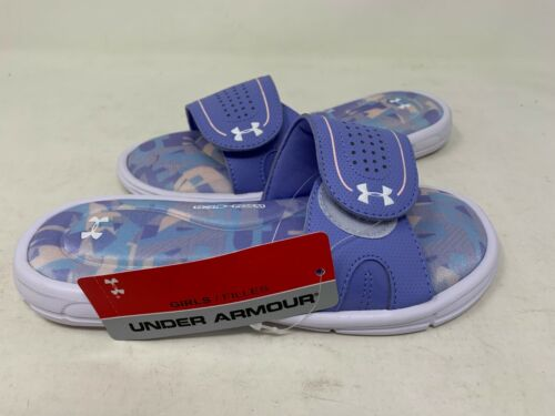 NEW Under Armour Youth Girl/'s Ignite Alpha VIII Slides Pur//Wht #3000060 147M z