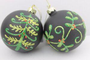 Gisela-Graham-Navidad-negro-mate-cristal-bola-con-arbol-Muerdago-Bola-x-2