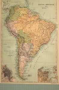 1908 Landkarte Südamerika Brazil Paraguay Peru Kolumbien Venezuela Rio Buenos