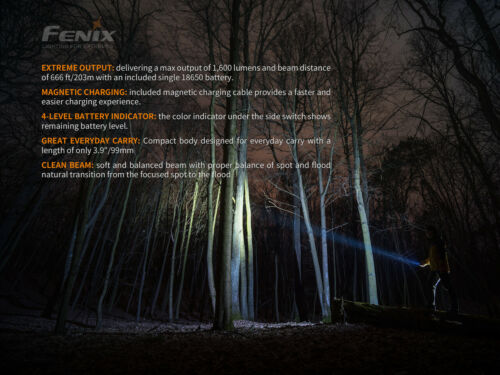 Fenix E30R 1600 Lm Rechargeable USB EDC Flashlight /& 2 Fenix 18650 Batteries