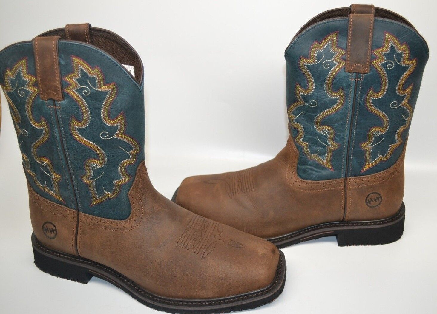 Men Double-H Brown blueE Leather Comp SQUARE 9 2E WESTERN Work Boot DH5137